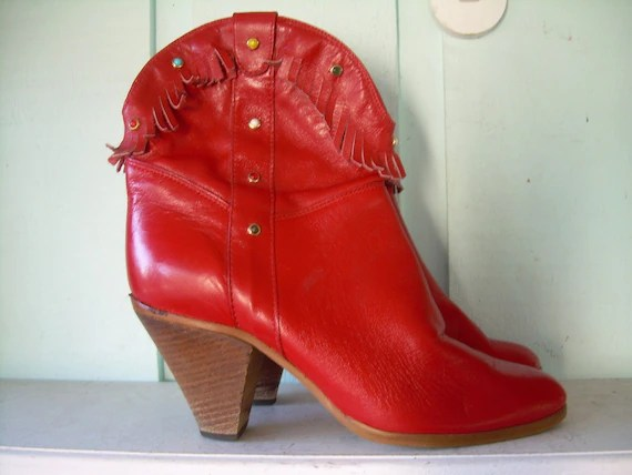 Red Leather Fringe Ankle Boots