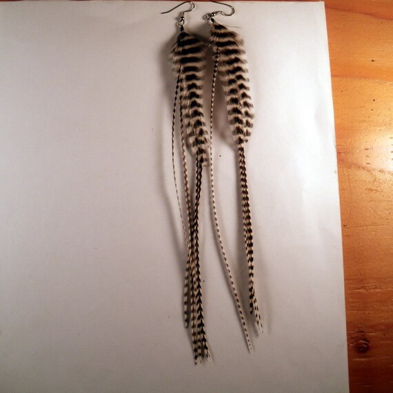 Feather Earrings Super Long natural tiger dangler with a tiger twist thin