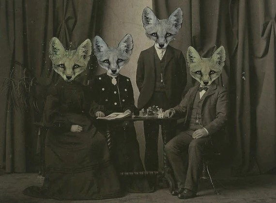 Le Foxworth Victorian Fox Family Cabinet Card Photo - Original Art