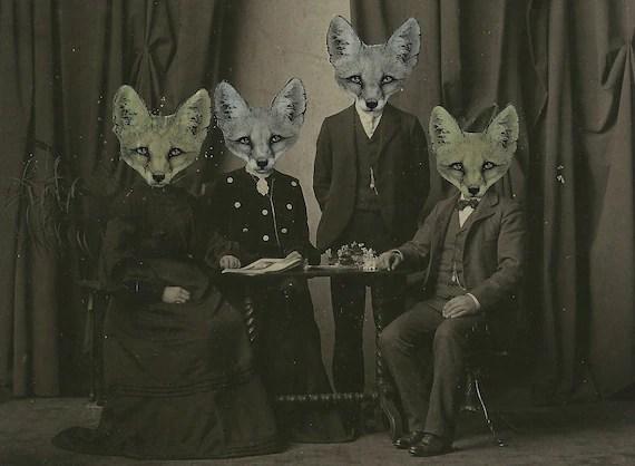 Le Foxworth Victorian Fox Family Cabinet Card Photo - Original Art