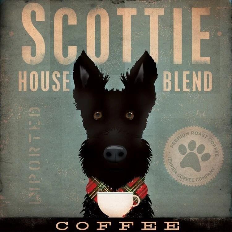 Scottie Coffee Company Scottish Terrier original graphic art collage on canvas 12 x 12 x 1.5