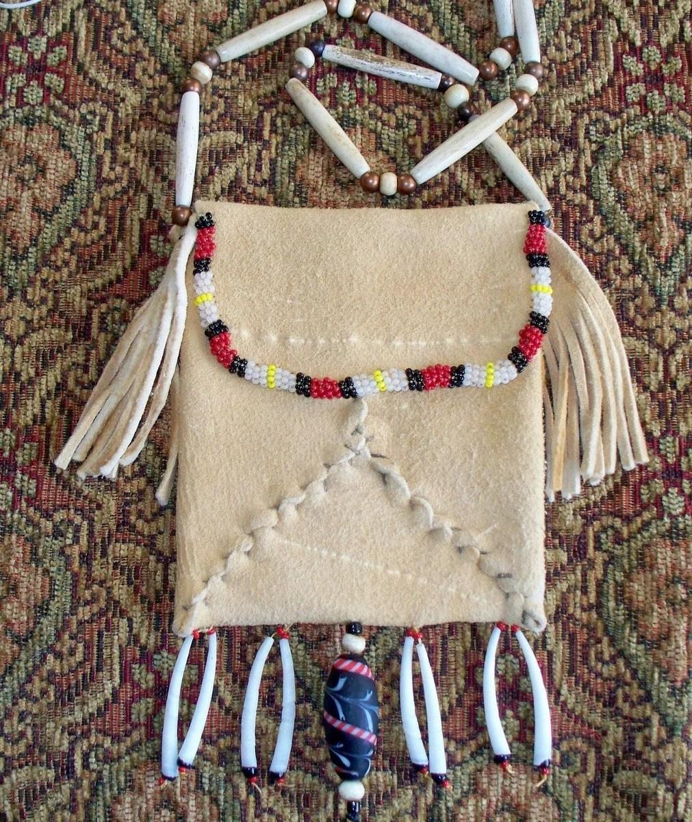 Beaded Brain Tanned Buckskin Amulet or Medicine Bag Dentalium Shell Fringe by Miss Tudy