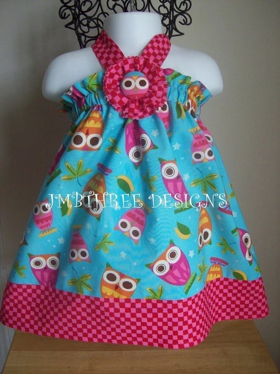 Aqua Owls Halter Top/Dress Toddler Infant Sundress size 6m-9m, 9m-12m, 12-18m,18-24mos.,2t,3t