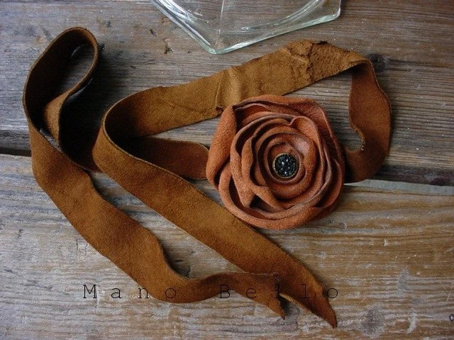 Romantic Leather Rose Wrist  Ribbon Bracelet Corsage Rust or Tobacco READY