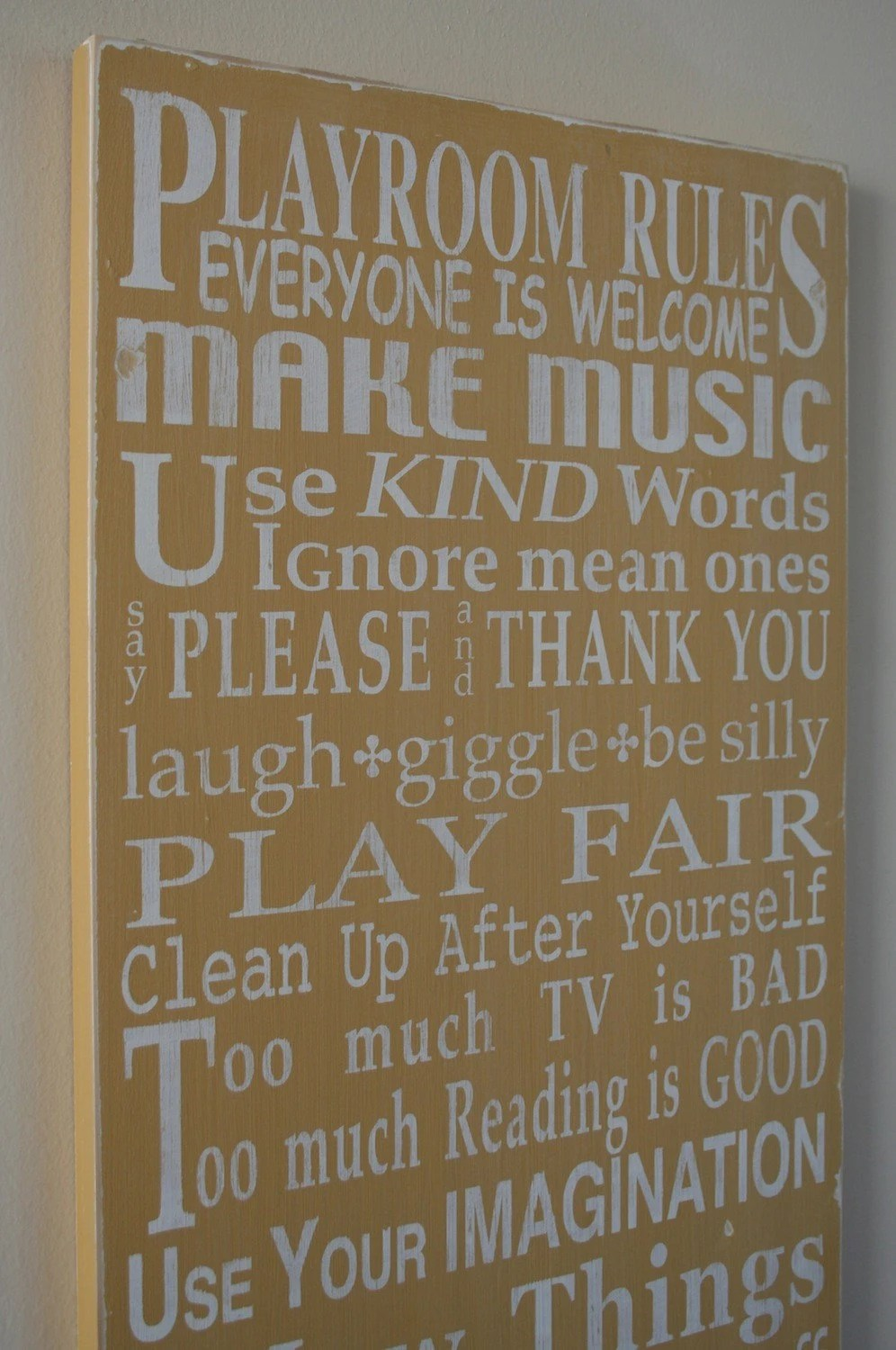 Playroom Rules - Typography Word Art