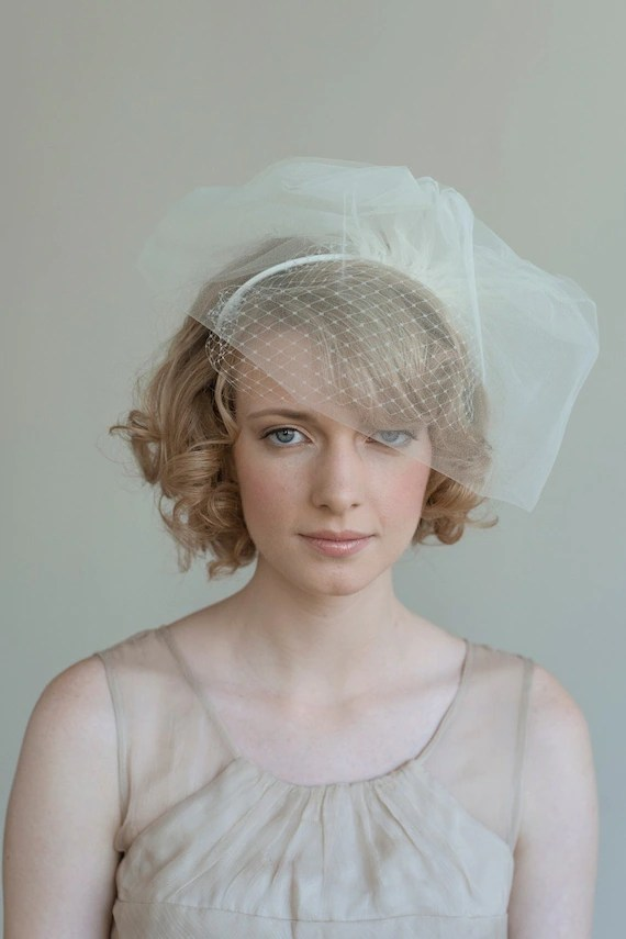 Double layer tulle and russian veil headband - Style 020 - Made to Order