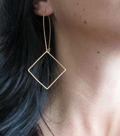 Large Gold Square Link Earrings SALE
