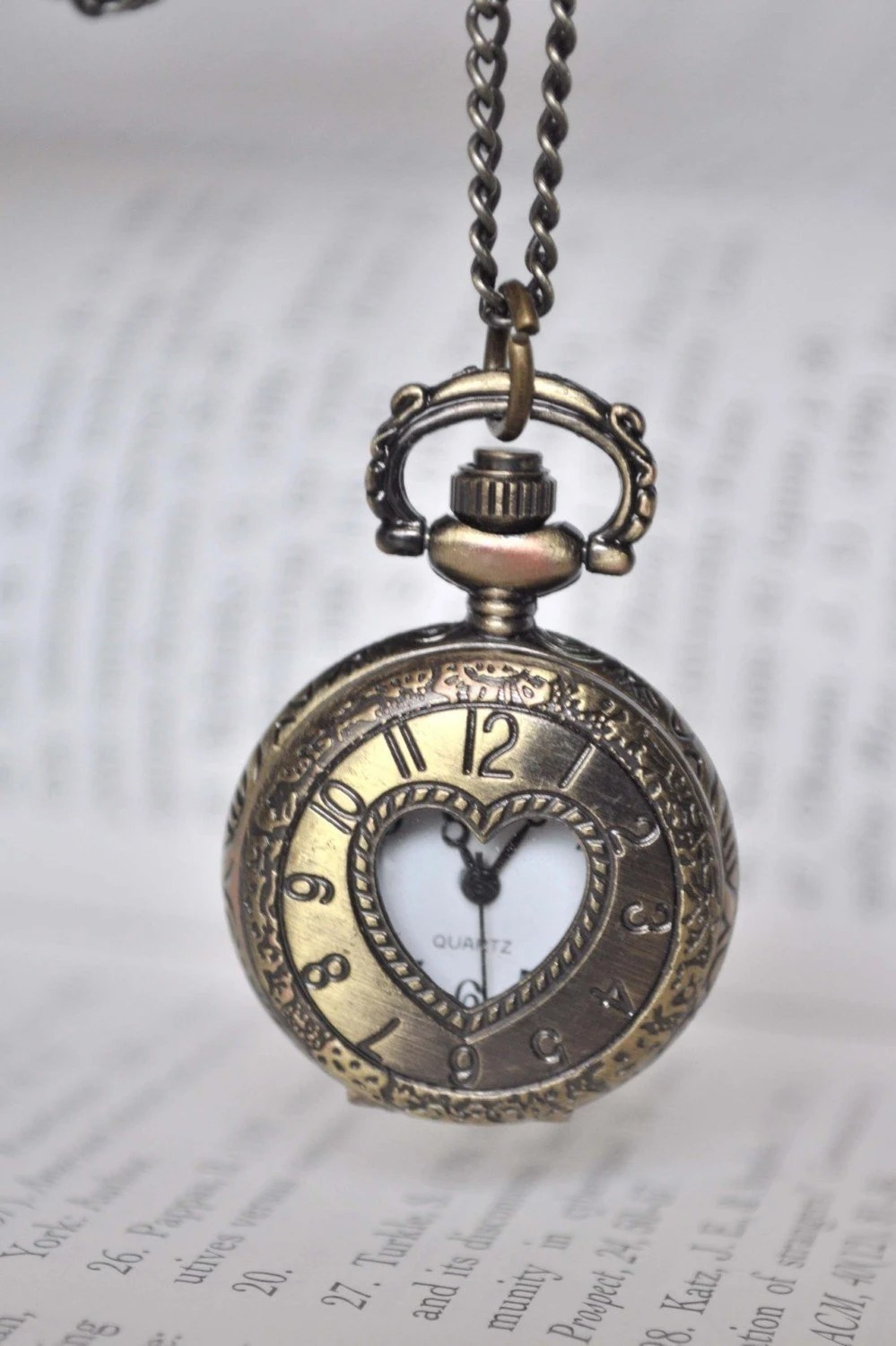 TIMELESS LOVE Victorian Style locket pocket watch pendant necklace