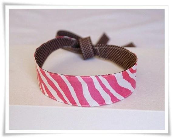 Reversible Headband PINK ZEBRA and BROWN