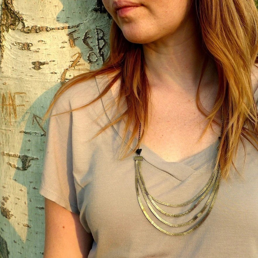brass mesh chain necklace