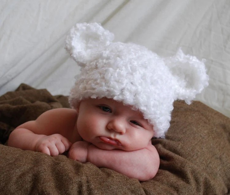 TWINS - Set of TWO cute baby bear hats with ears - your choice of sizes and colors