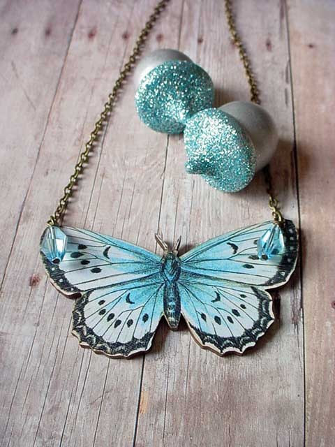 Gigantor Mothra Butterfly Necklace by MySelvagedLife