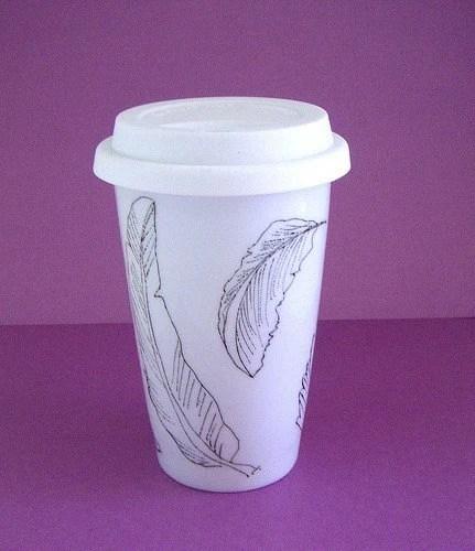 Eco Friendly Travel Mug Hand Drawn Painted Feathers White Black Nature handmade by sewZinski on Etsy