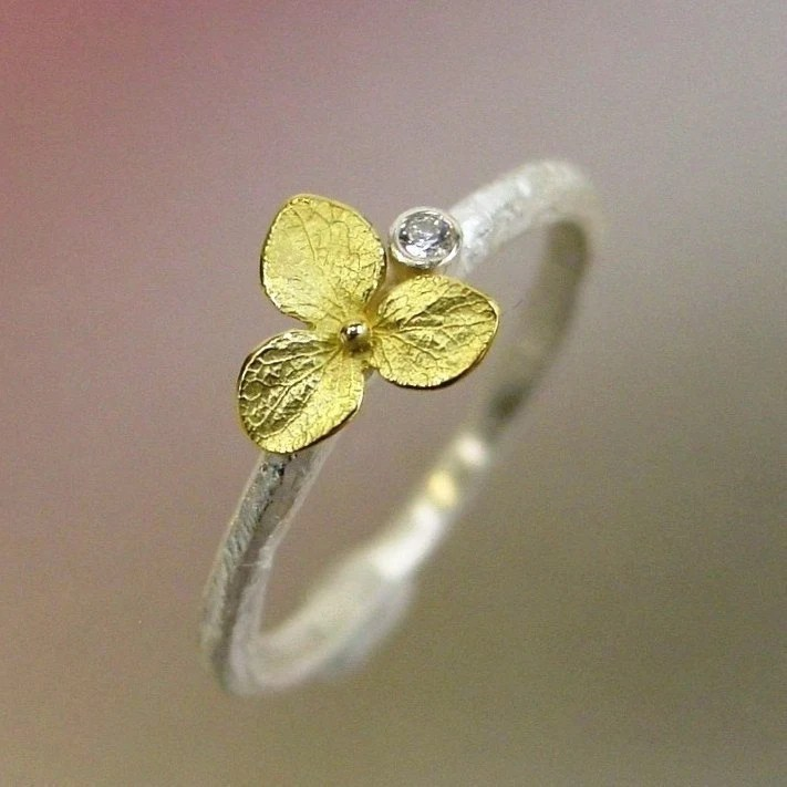 Hydrangea Blossom, Diamond Stacking Ring, Sterling Silver, 18k Gold Flower, Made to order
