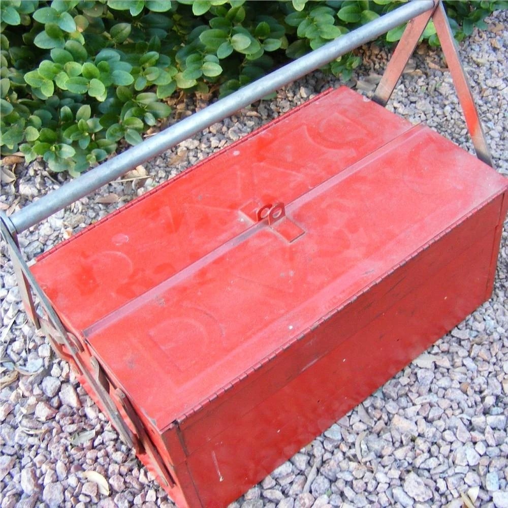 Vintage Red Tool Box, Great for Dad, Art Supplies, Garden Supplies, Lock It Up, International Shipping from Angie's Iris on Etsy