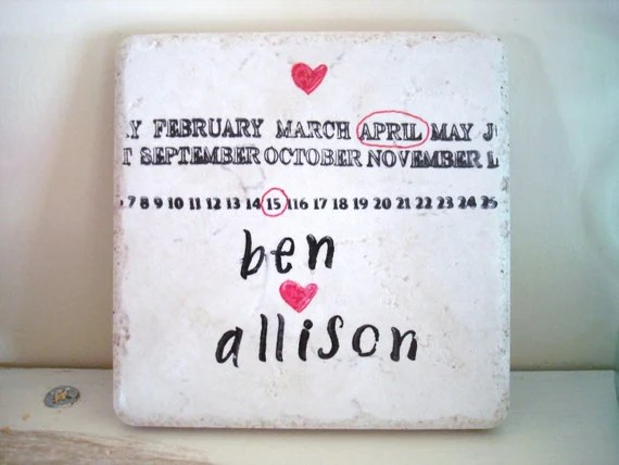 Custom Name/Date Coasters-Unique Wedding Gift by burlap and blue