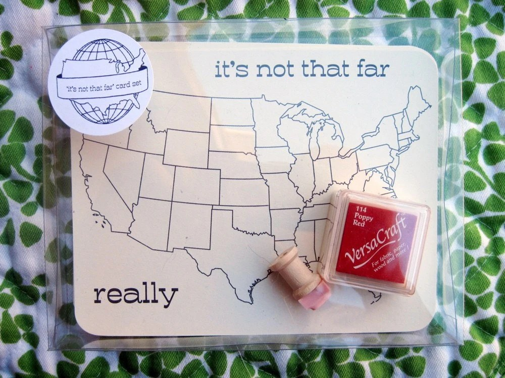 """It's not really that far"" postcard set by rarrarpress"