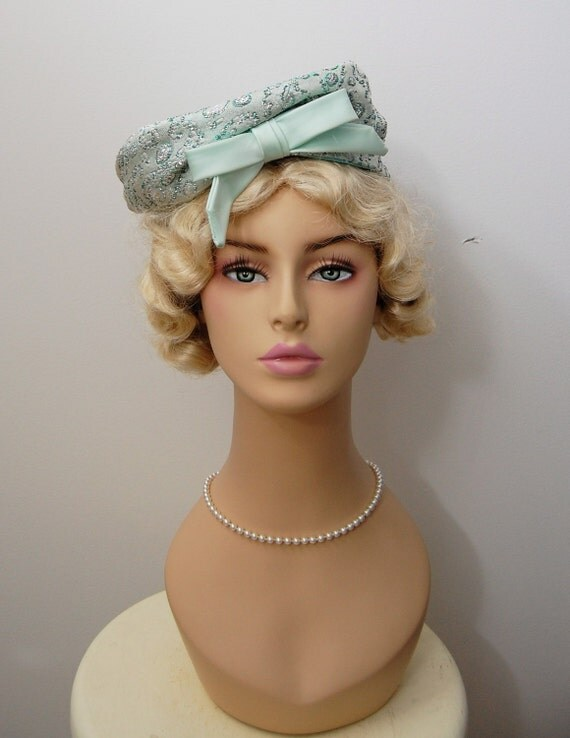 The Georgette- Vintage 1960s Light Blue Bow Brocade Bubble Oversized Eccentric Mod Hat