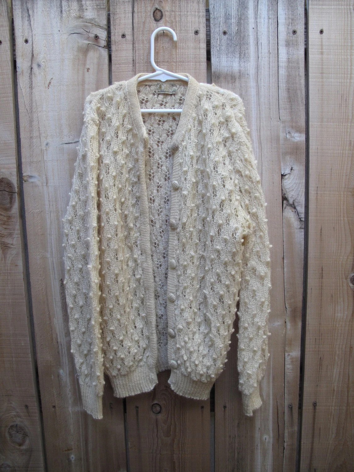 1940s vintage ITALIAN hand knit NUBBY WOOL cardigan small