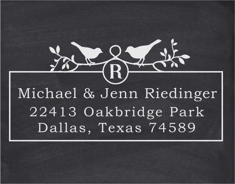 Custom Wood Handle Address or Wedding Stamp - cute wedding or christmas gift-Two Birds Monogram -1043