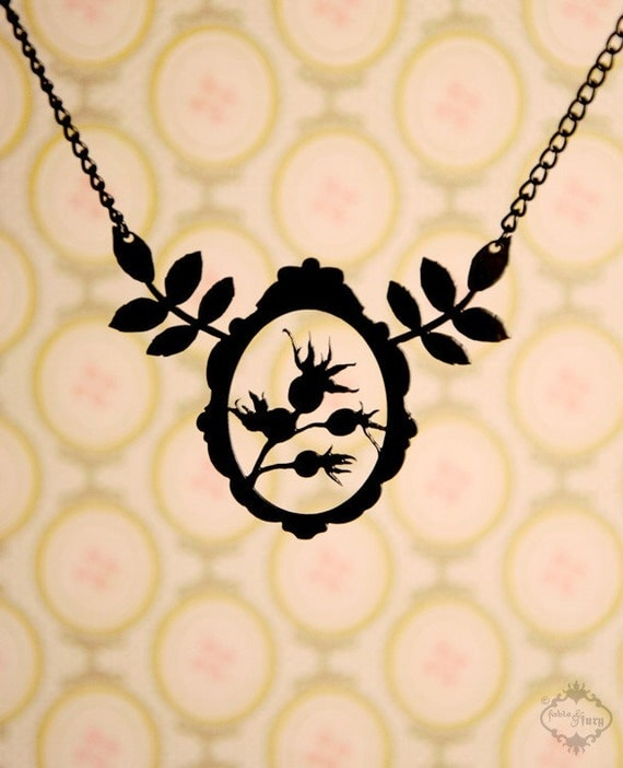 Victorian Framed Rose Hips and Leaves silhouette