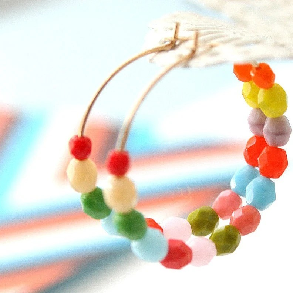 Colorful 14K GF Hoop Earrings