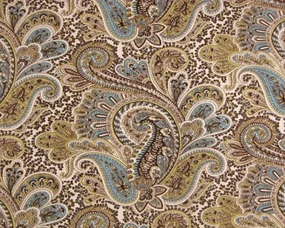 Decorative Designer Fabric-Chocolate and Natural Paisley-1 yard