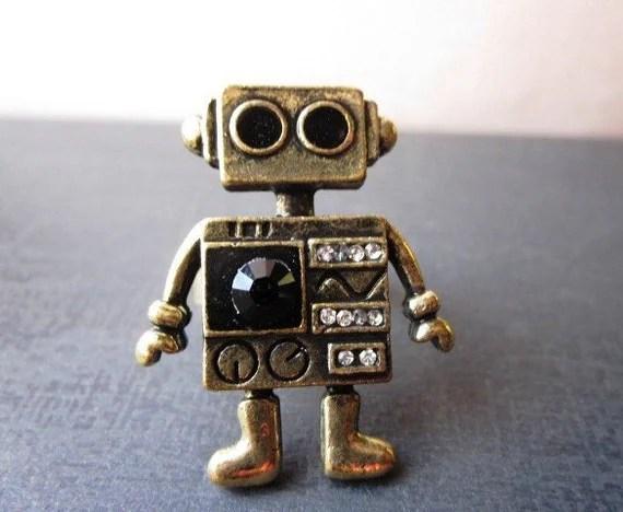 MINI ROBOT. A Robot Cocktail Ring with Black Swarovski Gem