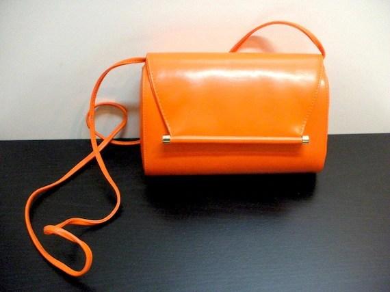 Vtg Orange Leather Purse. MOD.