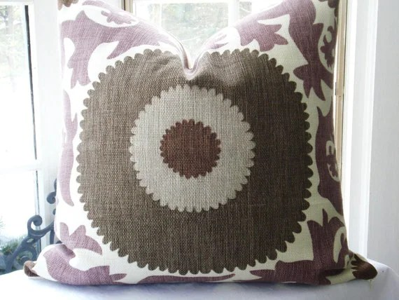 Suzani-- 20x20  Decorative Pillow Cover--Designer Fabric--Throw Pillow--Plum/Cream/Washed  Look Chocolate/Sand