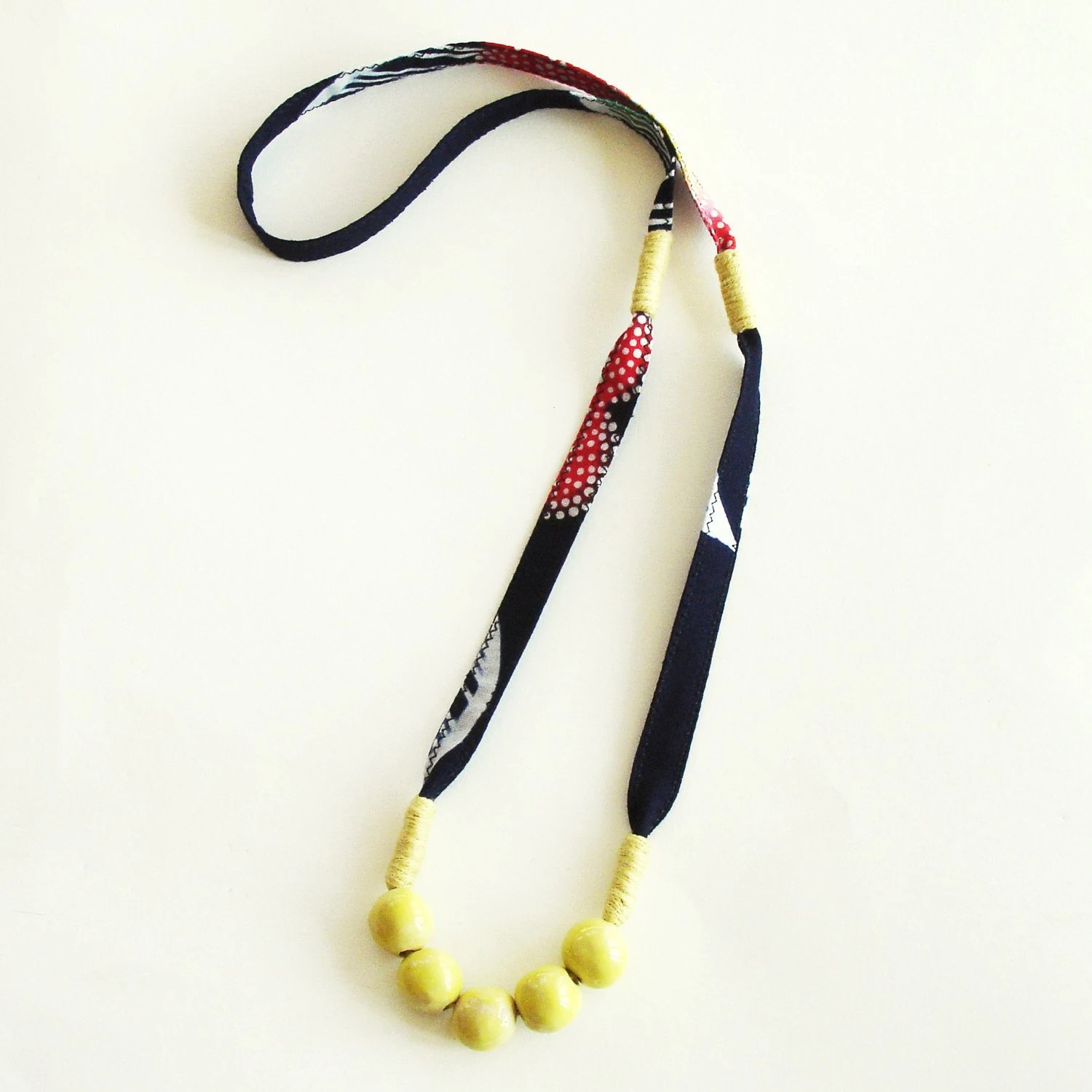 Pebble Necklace in vintage kimono fabric - navy/red/yellow