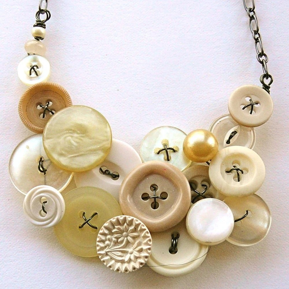 White and Natural Vintage Button Large Statement Necklace