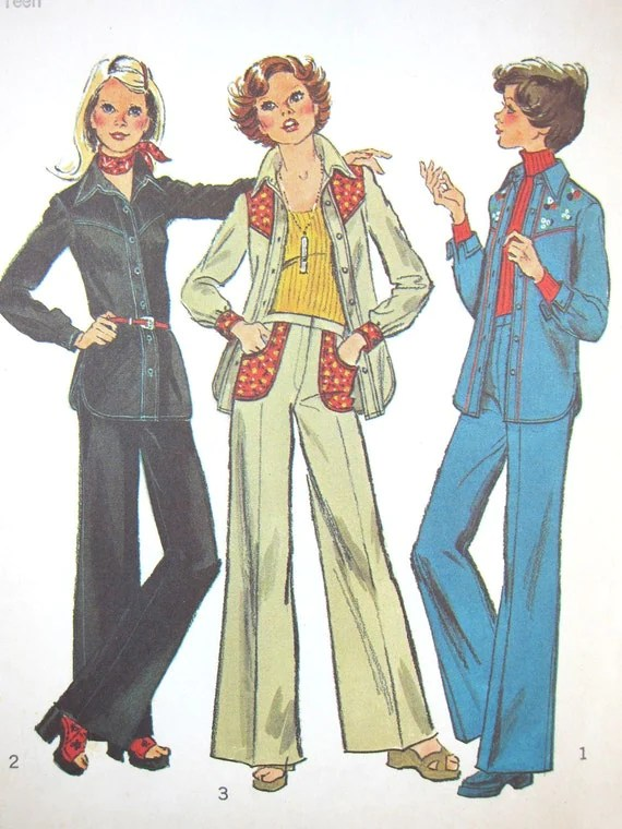 Vintage 70s Shirt-Jacket and Pants: Simplicity 6617, Size Young Jr 15/16 (1974)