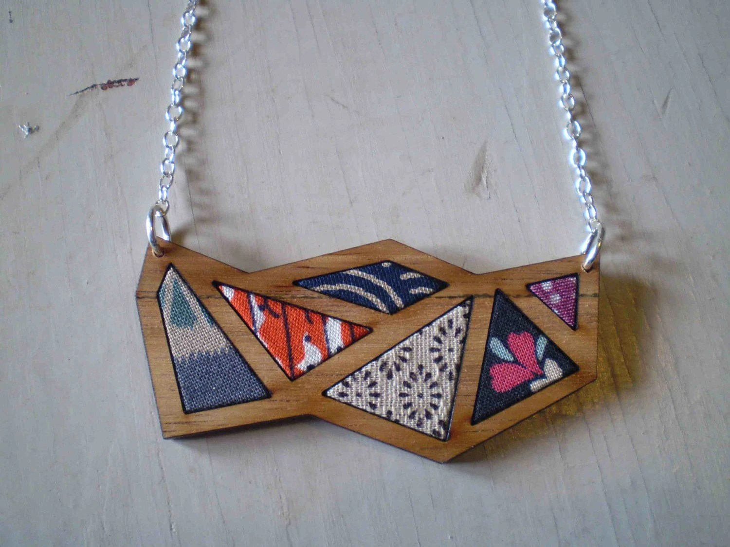 Triangle necklace - timber and fabric