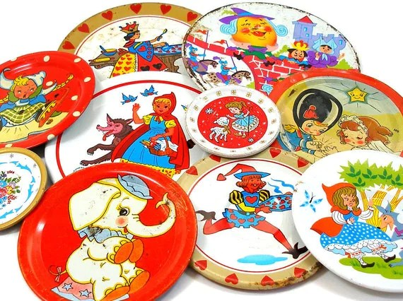 Vintage Tin Toy tea saucers, Storybook set of 10 with litho, Instant Collection.