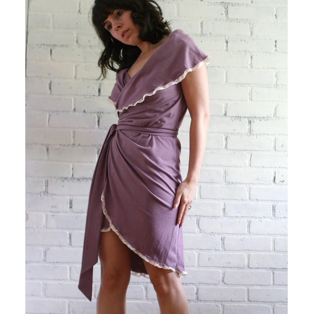 Organic cotton jersey wrap dress with fold over shawl collar - made to order