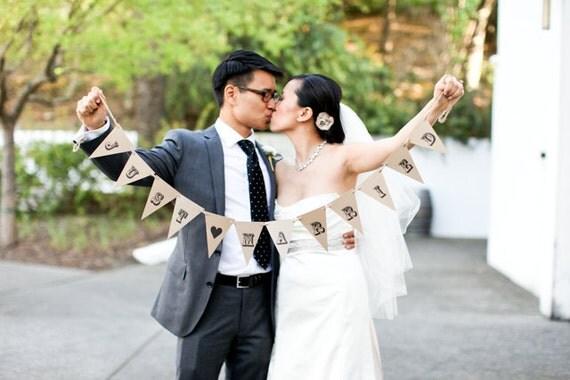 JUST MARRIED Vintage Pennant Banner on Kraft Paper