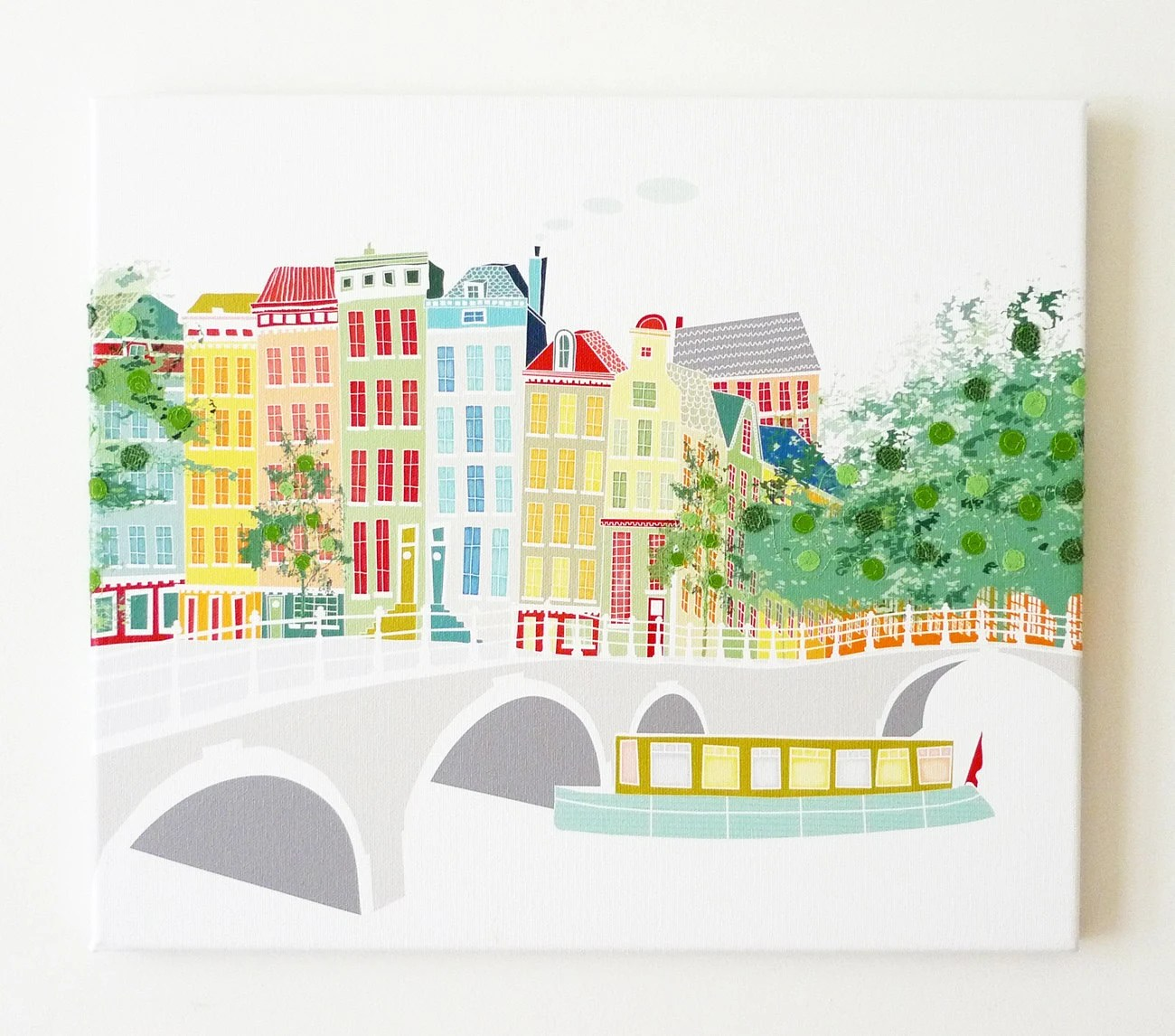 Across the canal - Stitched cityscape canvas print