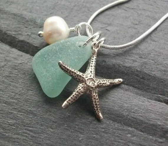 STARFISH CLUSTER ........Scottish Sea Glass and Sterling Silver Starfish Necklace (1128)
