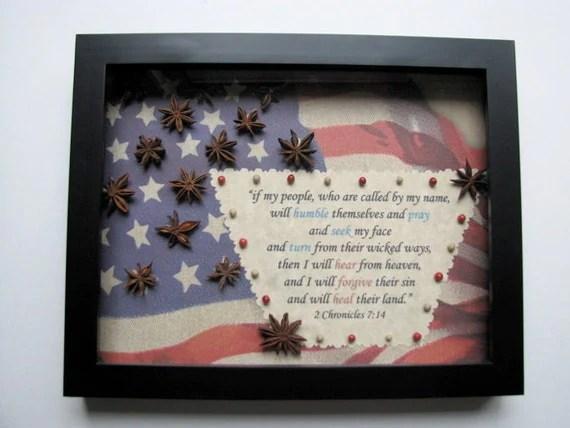 "Patriotic Shadowbox with  2 Chronicles 7:14  ""if my people will humble themselves and pray..."""