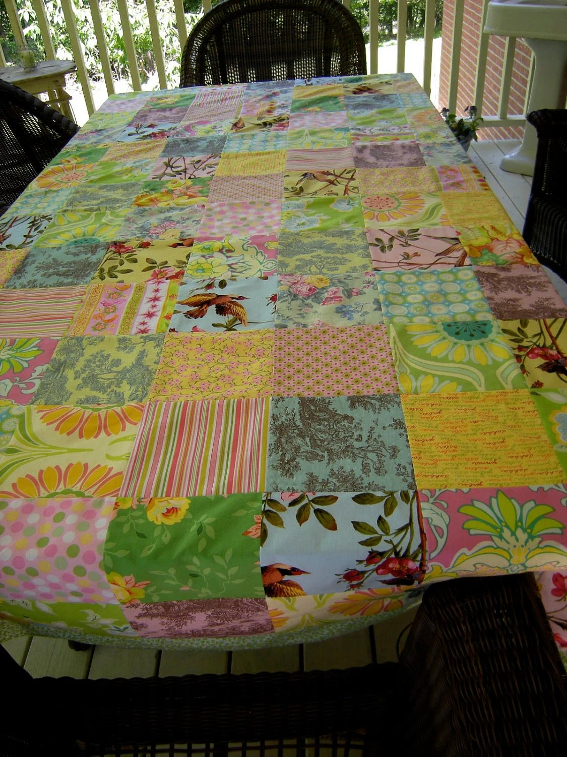 Cotton tablecloth, 60 X 89 inches, made up of 6 inch squares