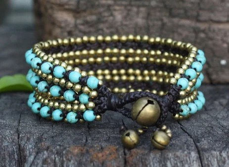 3 Line Blue Beads Brass Bracelet