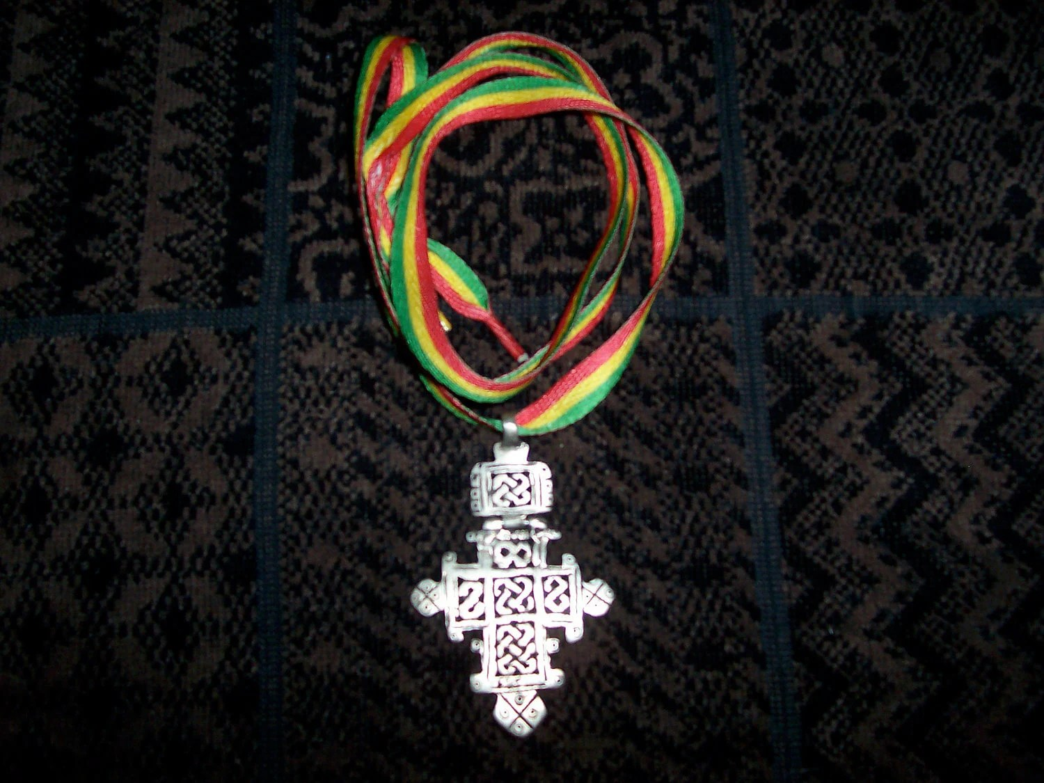 Beautiful antique Coptic Cross w/ Hinge On Rasta Lace (C03)