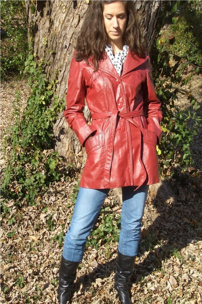 Fire Engine Red Leather Coat
