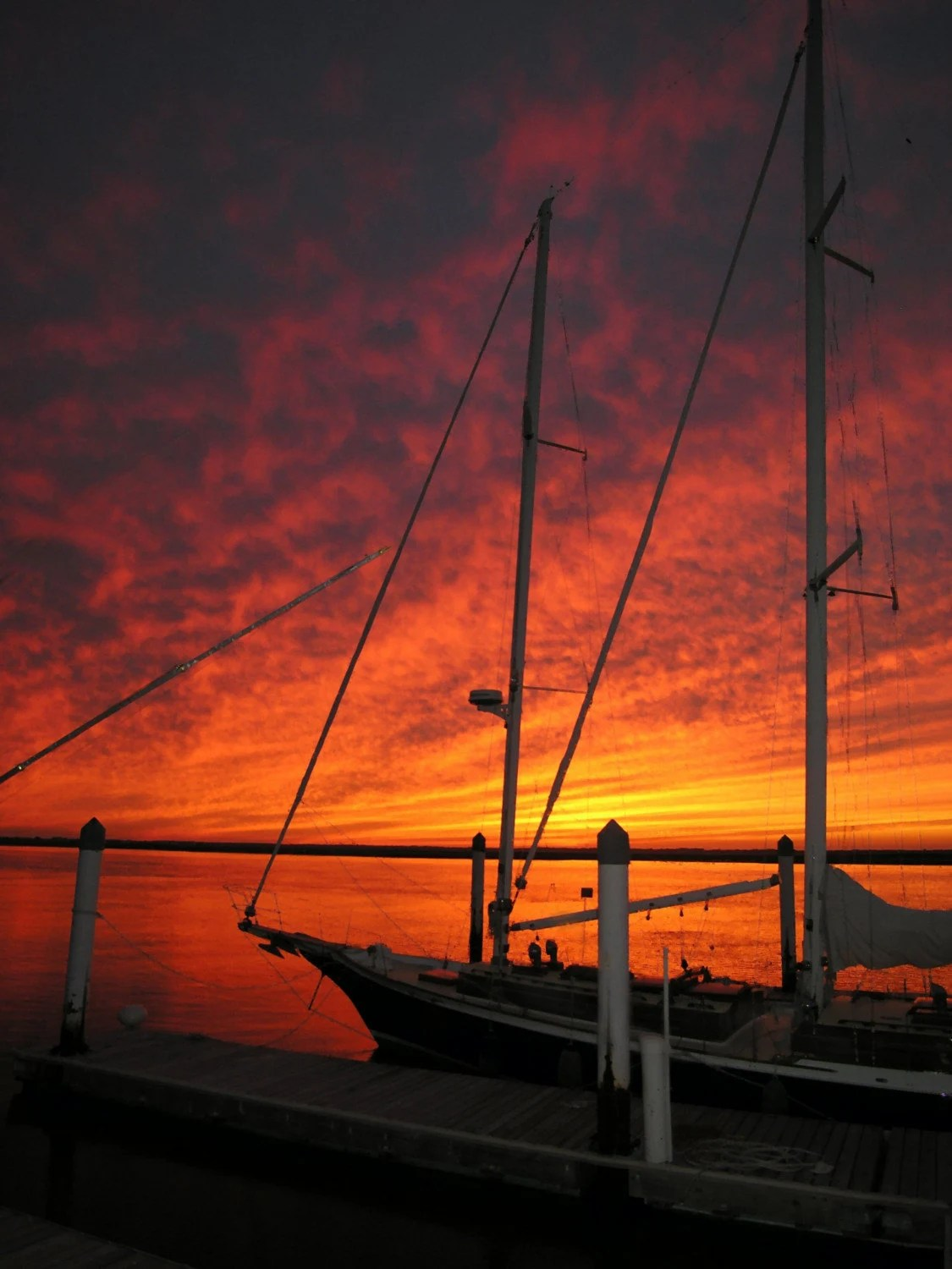 Sloop Fiery Sunset---matted image