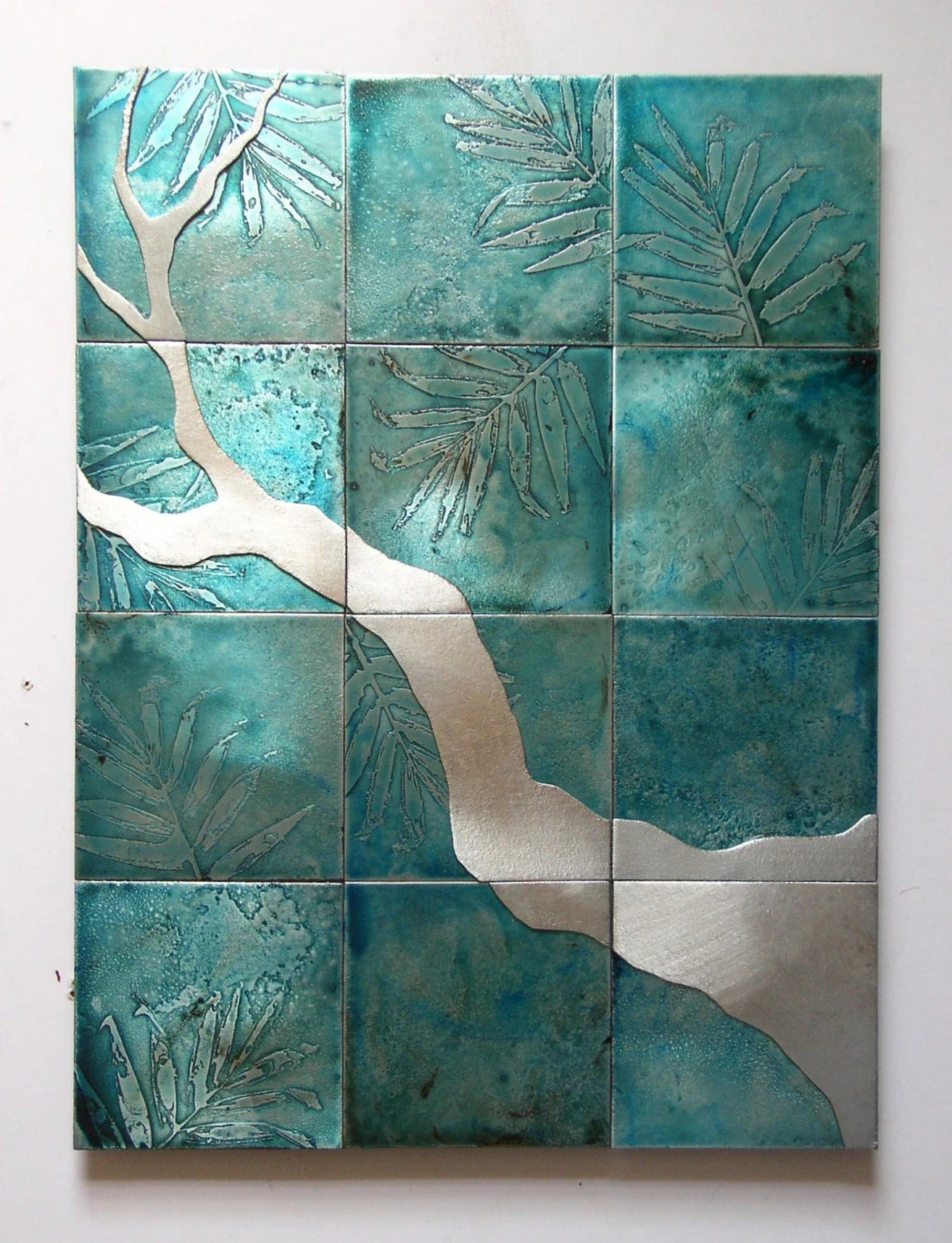 Silver Branch on Pale Teal metal artwork