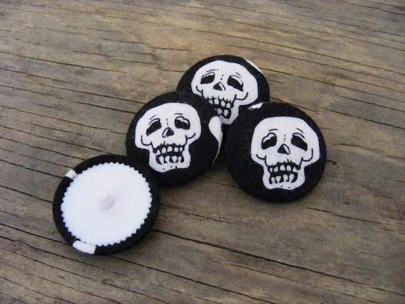 handmade skeleton fabric covered buttons - skulls
