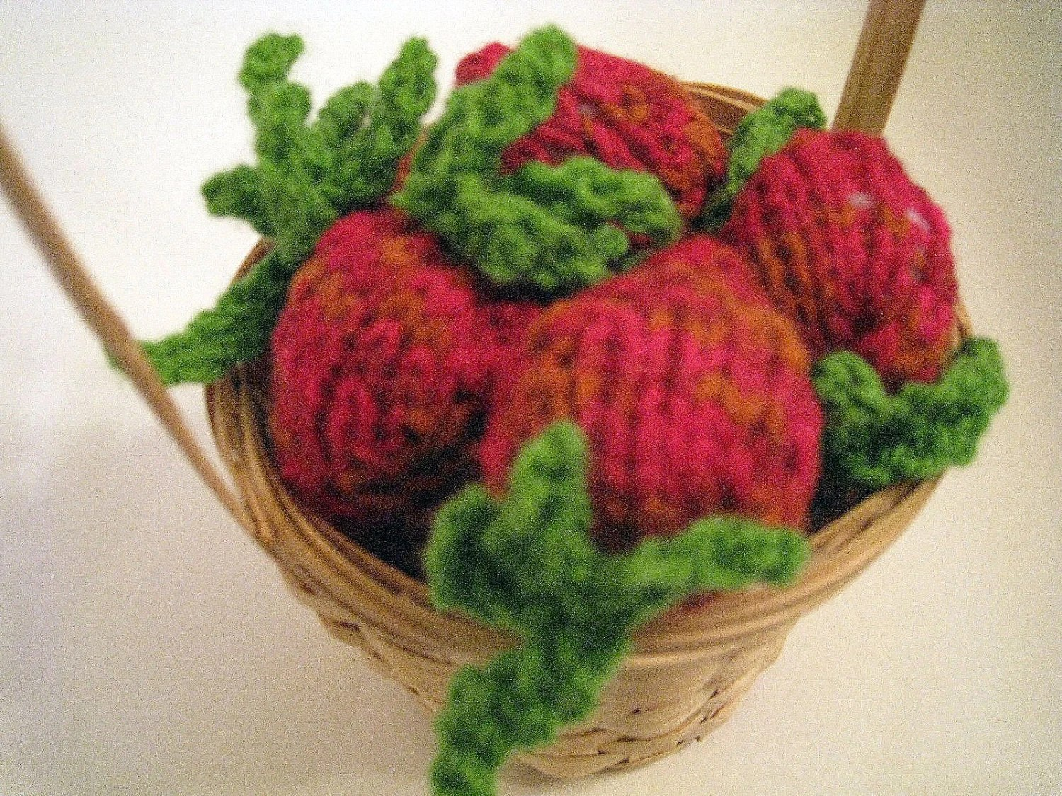 Strawberry knit crochet set of 5 children toy food red green