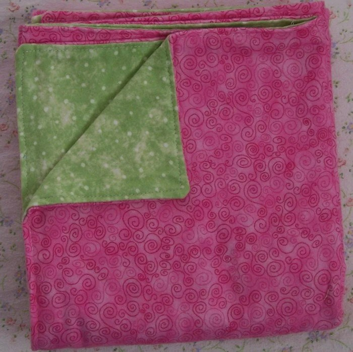 ON SALE pink swirl, dotted spring green flannel blanket