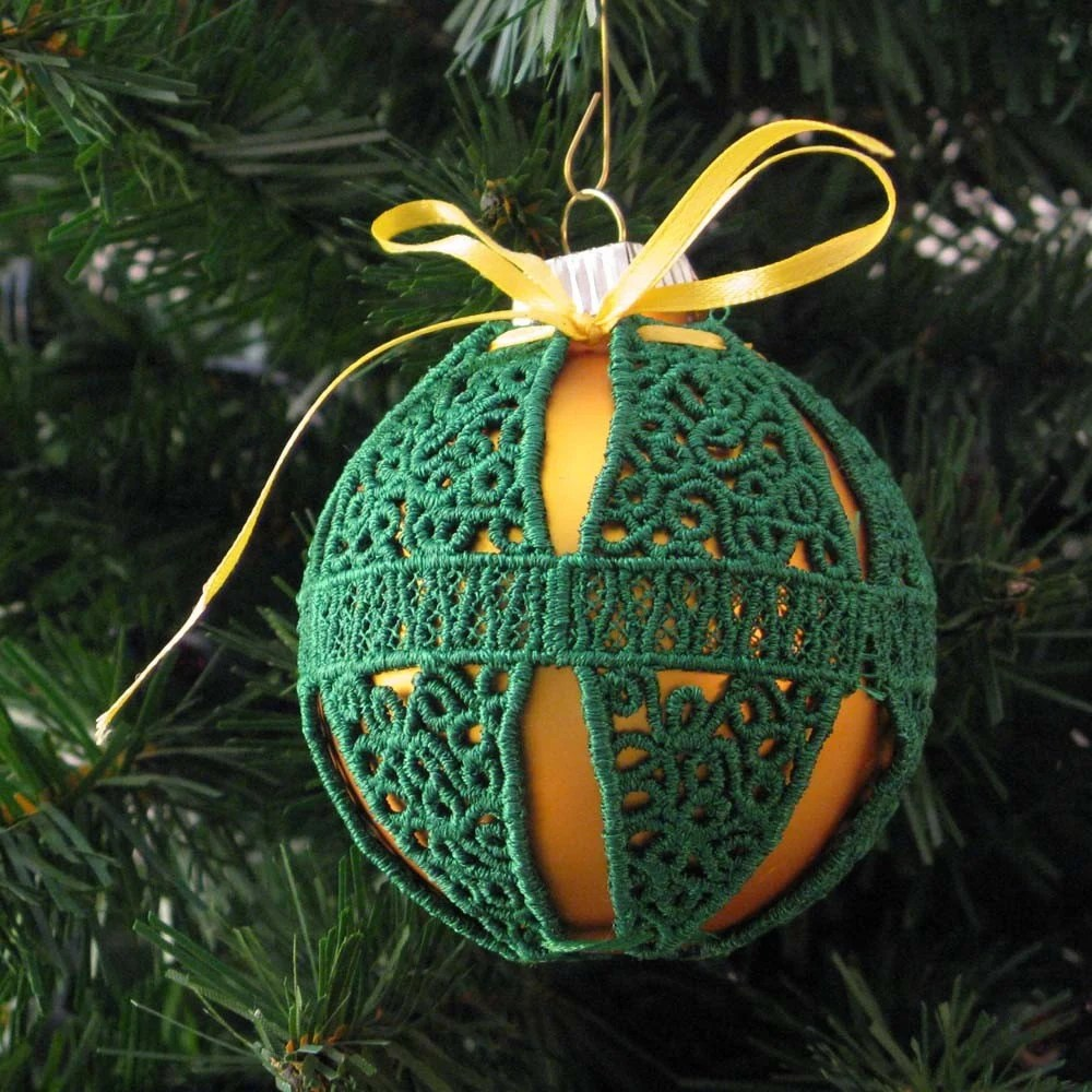 Green Embroidered Banded Design Lace Ornament